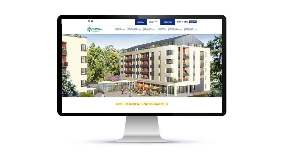 Home page du site investisseur Les Jardins d'Arcadie